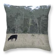 Impressionist Cows Grazing Throw Pillow