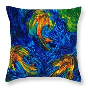 Impressionist Koi Fish By Sharon Cummings Throw Pillow