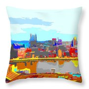 Impressionist Pittsburgh Across The River 2 Throw Pillow