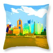 Impressionist Pittsburgh From The North Side Throw Pillow