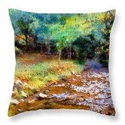 Impressionist Rocky Creek Throw Pillow