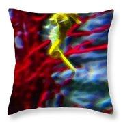 Impressionist Sea Horse Throw Pillow
