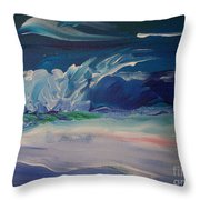 Impressionistic Abstract Wave Throw Pillow