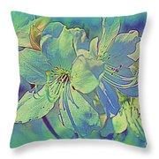 Impressionistic Blue Blossoms Throw Pillow