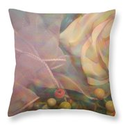 Impressionistic Pink Rose With Ribbon Throw Pillow