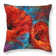 Impressionistic Red Poppies Throw Pillow