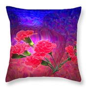 Impressions Of Pink Carnations Throw Pillow by Joyce Dickens