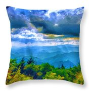 Impressions Of Waterrock Knob On The Blue Ridge Parkway Throw Pillow