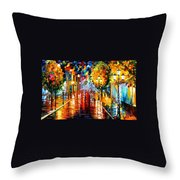 Improvisation Of Lights - Palette Knife Oil Painting On Canvas By Leonid Afremov Throw Pillow