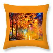 Improvisation Of Trees - Palette Knife Oil Painting On Canvas By Leonid Afremov Throw Pillow