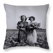 In A Field Of Flowers Vintage Photo Throw Pillow