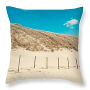 In A Line. Coastal Dunes In Holland Throw Pillow