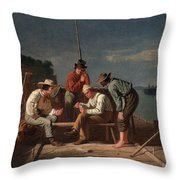 In A Quandary, Or Mississippi Raftsmen Throw Pillow