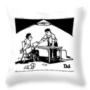 In A Stereotypical Interrogation Room Throw Pillow by Drew Dernavich