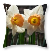 In Conversation - A Couple Of Daffodils Huddled Together Throw Pillow