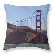In Flight Over Golden Gate Throw Pillow by Scott Campbell