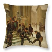 In Front Of The School Throw Pillow