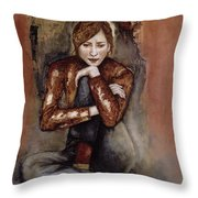 In Her World, 2005 Pen & Ink With Oil On Paper Throw Pillow
