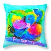 In Love Birds - Lorikeets Throw Pillow