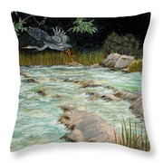 Solitary Heron Throw Pillow by Edward Fuller