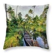 In The Backwaters Of Kerala Throw Pillow