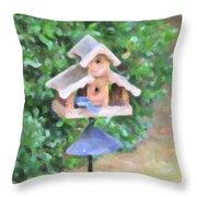In The Birdhouse - Oil Throw Pillow