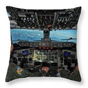 In The Cockpit Of A Kc-135 Stratotanker  Throw Pillow