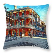 In The French Quarter Painted Throw Pillow