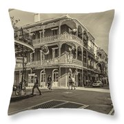 In The French Quarter Sepia Throw Pillow