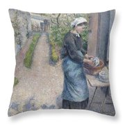 In The Garden At Pontoise A Young Woman Throw Pillow