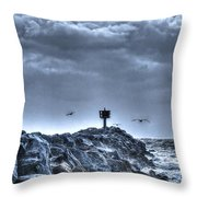 In The Jetty Moss Landing Monterey County  Throw Pillow