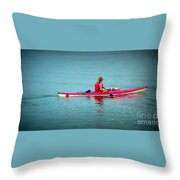 In The Pink Kayaker Throw Pillow