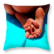 In The Pool - Feet Series Throw Pillow