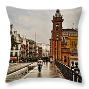 In The Rain - Puente De Triana Throw Pillow