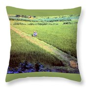 In The Rice Fields Throw Pillow
