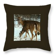 In The Snow At Sunset Throw Pillow