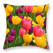 In The Tulip Garden Throw Pillow