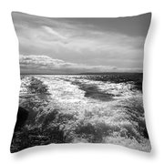 In The Wake In Black And White Throw Pillow