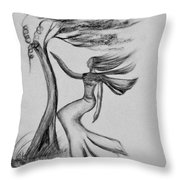 In The Wind She Dances Throw Pillow