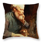 In The Workshop Throw Pillow by John Ritchie