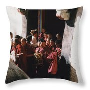 In Tibet Tibetan Monks 5 By Jrr Throw Pillow