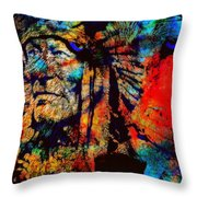 In Trance With Wolf Throw Pillow
