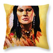 Maiden In White Feather And Beads Throw Pillow