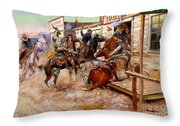 In Without Knocking By Charles M. Russell Throw Pillow