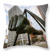 In Your Face -  Joe Louis Fist Statue - Detroit Michigan Throw Pillow by Gordon Dean II
