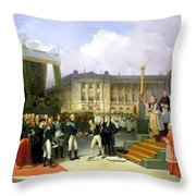 Inauguration Of A Monument In Memory Of Louis Xvi 1754-93 By Charles X 1757-1836 At The Place De La Throw Pillow