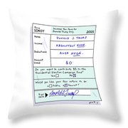 Income Tax Form For Donald Trump Only Throw Pillow