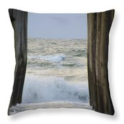 Incoming Tide At 32nd Street Pier Avalon New Jersey Throw Pillow