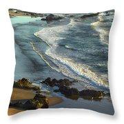 Incoming Waves At Bandon Beach Oregon Throw Pillow