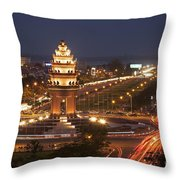 Independence Monument, Cambodia Throw Pillow